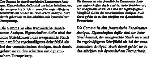 Gamma-Textabschnitte