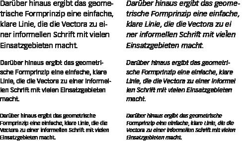 Vectora-Textabschnitte