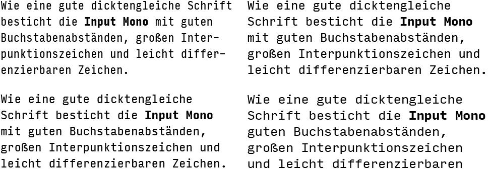 Input Mono-Textabschnitte
